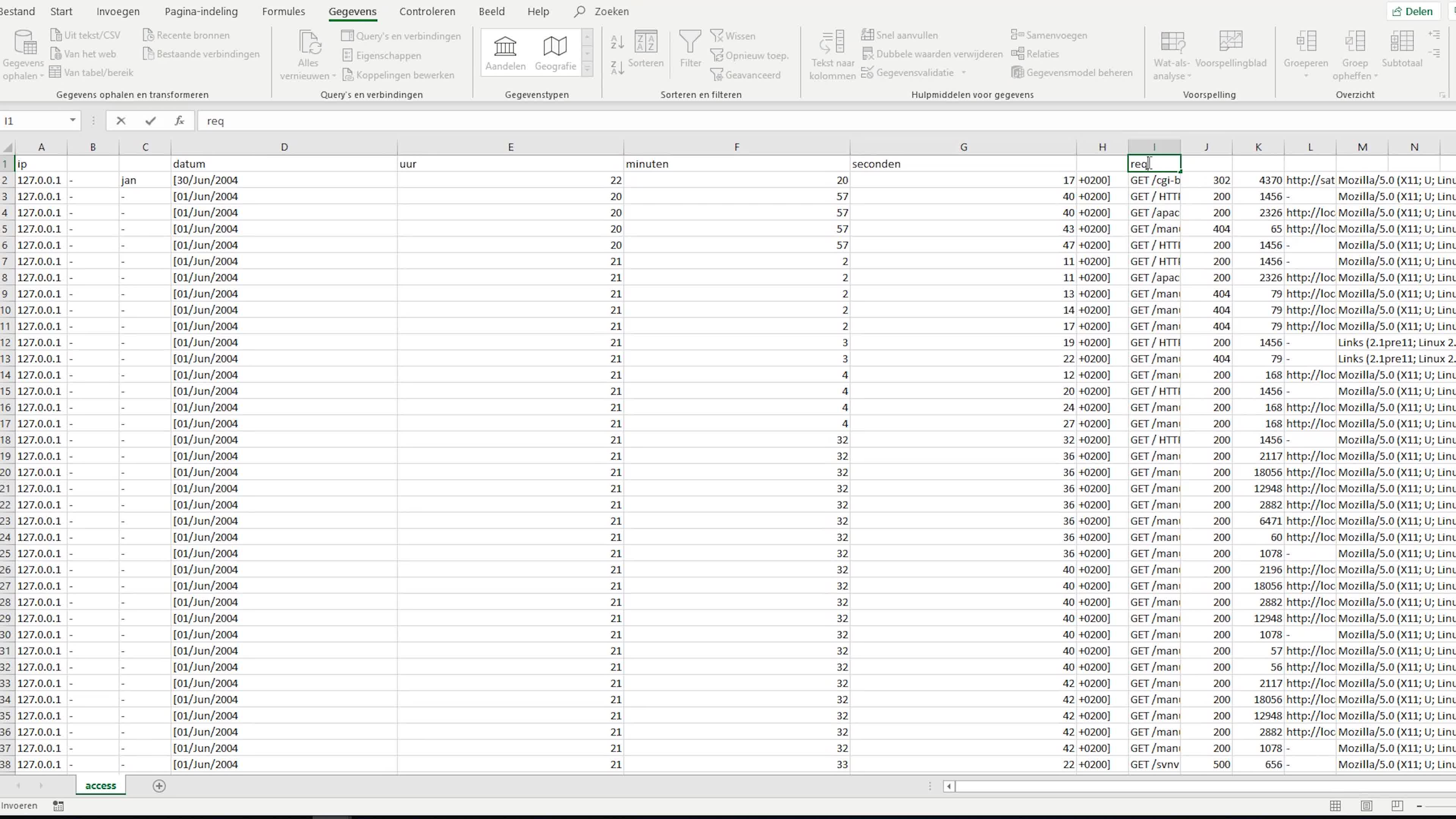 Apache Access log analyseren in Excel
